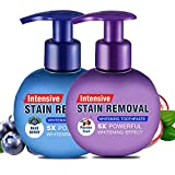 Baking Soda Whitening Gel Toothpaste Intensive Stain Remover Strong Cleaning Power Natural Fluoride Free Toothpaste, set of 2 (1 passion fruit + 1 blue berry)