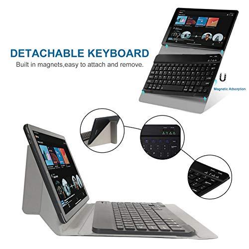 4G Tablette Tactile 10 Pouces avec Clavier FHD 4Go RAM 64Go/128Go ROM Android 9.0 Certifié par Google GMS Tablet PC Quad Core 8000mAh Dual SIM 8MP, WiFi |Bluetooth | GPS | OTG Netfilx (Noir)