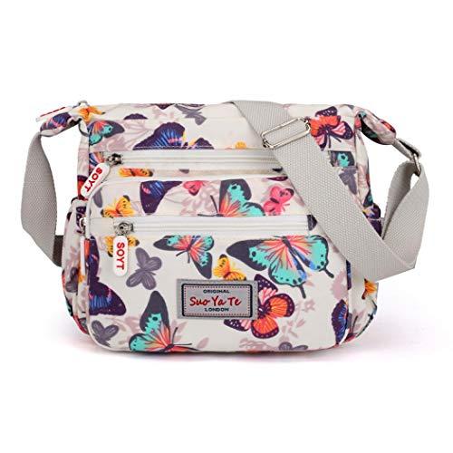 Damen Umhängetasche mit mehreren Taschen, Umhängetasche, Handtaschen, Reisetasche, Kulturbeutel, verstellbarer Riemen, Kuriertasche Gr. One size, Schmetterling-Weiß