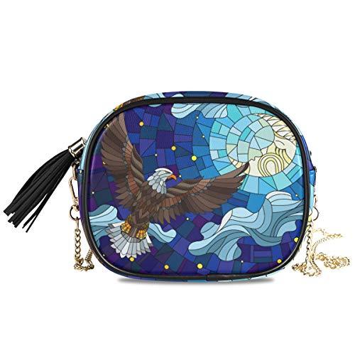 Eagle Damen Handtasche aus Buntglas, leicht, mit Quaste