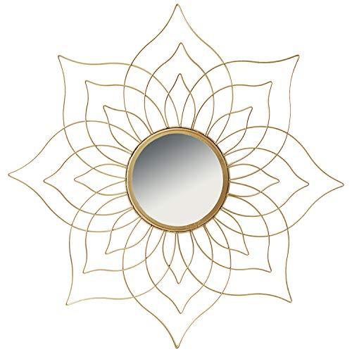 Hochwertiger Exclusiver Wandspiegel Rundspiegel Spiegel Dekospiegel Blüte Blume Sonne aus Metall in Gold Ø45cm