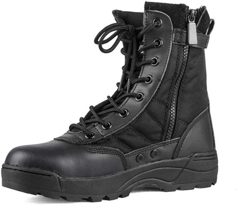 ZHRUI Mens Military Boots Soft Sole Non Slip Breathable Durable Side Zip Ankle Boots (color   Black, Size   UK 6.5)