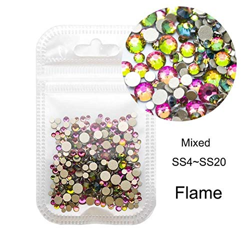 Gouen Mixed Glass Stones for Nails Gold Flatback Strass Nails Ongles Crystal Glass Strass Art Decorations, Flame
