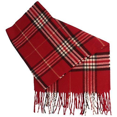 Schal aus 100% Cashmink für Damen & Herren - 180 x 30 cm – mit großem Karo-Muster & Fransen - Made IN Germany – super weich & bequem – Rot
