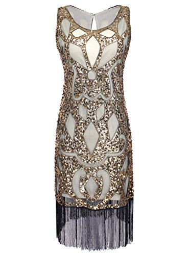 VIJIV Women's 1920s Art Deco Sequin Roaring 20s Great Gatsby Flapper Dress Gold