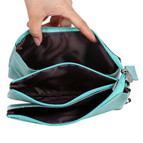 O,Like Super Capacity Pencil Case Three Compartment Pencil Holer Pencil Pouch Pen Bag Cosmetic Bag (Light Green)