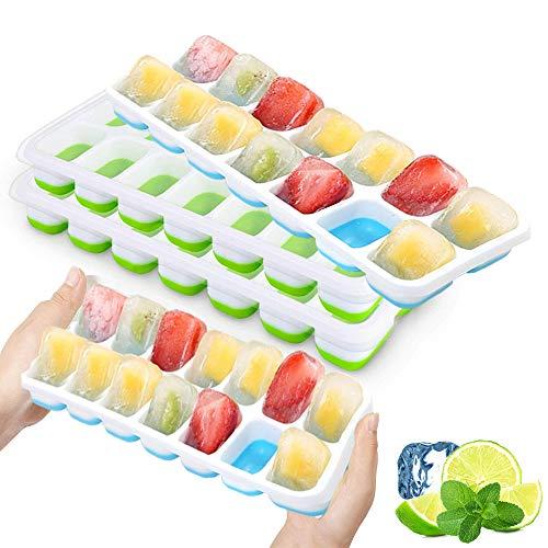 4 Pack Ice Cube Trays met vergrendeldeksels, Easy-Release Siliconen Ice Trays met morsbestendige verwijderbare deksels…