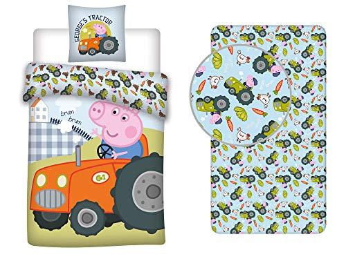 LesAccessoires Peppa Pig - Juego de cama (funda nórdica de 140 x 200 cm, funda de almohada y sábana bajera de 90 x 200 cm, 100% algodón), color rosa