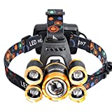 5*LED XML T6 Headlight 20000 Lumens 4 Mode Zoomable Headlamp Rechargeable Head Lamp