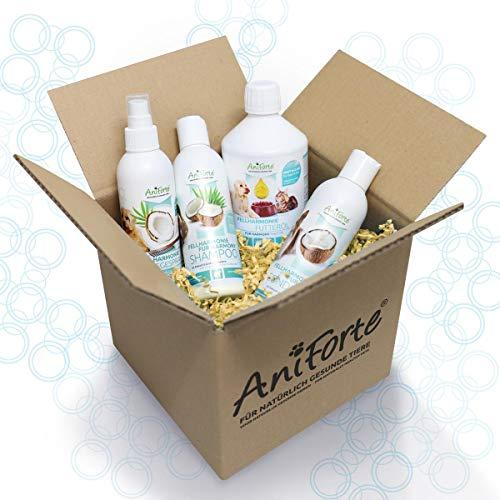 AniForte Fellharmonie - Champú para perros con aloe vera, 200 ml, cuidado natural para el pelo y la piel, champú libre de colorantes y siliconas, champú para perros (set de cuidado 4 en 1)