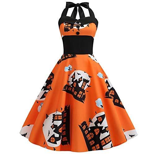 iSunday Vrouwen Dames Vintage Jurk Halter Tube Top Halloween Huis Gedrukt Slim Swing Oranje Jurk