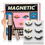 DYSILK Magnetic Eyeliner and Magnetic Eyelashes Kit 3 Pairs 3 Styles Magnetic False Eyelashes with Tweezer Natural Reusable Handmade Eyelashes Waterproof Soft Lasting Lashes