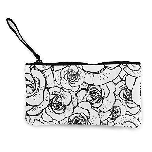 XCNGG Monederos Bolsa de Almacenamiento Shell Black and White Background with Roses Fashion Coin Purse Bag Canvas Small Change Pouch Multi-Functional Cellphone Bag Wallet Cosmetic Makeup Bag