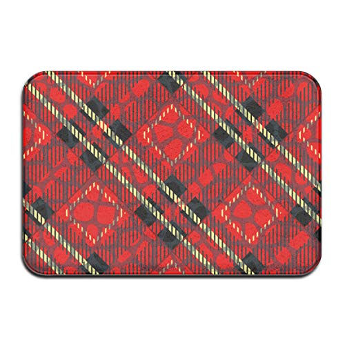 Yxungdiy Carpet Non-Slip Floor Mat Scottish Cage Red Celtic Scottish Red Checkered Doormat for Bathroom and Livingroom