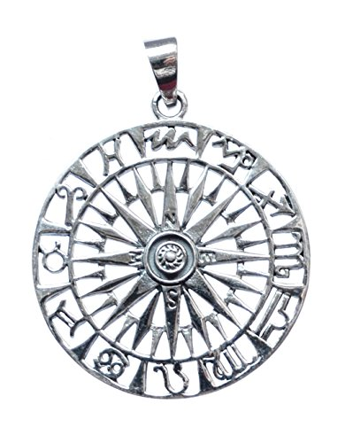 Spirit of Avalon Anhänger Sonnenrad mit Sternzeichen 925 Sterling Silber - Yoga Esoterik Spiritualität Energie Astrologie