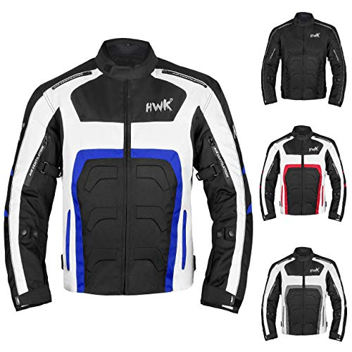 Textile Motorcycle Jacket For Men Dualsport Enduro Motorbike Biker Riding Jacket Breathable CE ARMORED WATERPROOF (Blue, 3XL)