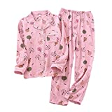 LEYUANA Sweet Pyjama Sets Mujer, Ropa de Dormir Crepe Algodón Simple Cute Cartoon Manga Larga Mujer Pijamas M Pink