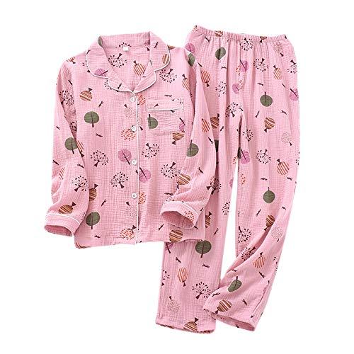 LEYUANA Pyjama,Süße Pyjama-Sets Frauen, Nachtwäsche Krepp-Baumwolle Einfache...