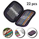 Sharp choice 22 Pcs Multicolor Aluminium Crochet Knitting Needles Hook in Purple Case