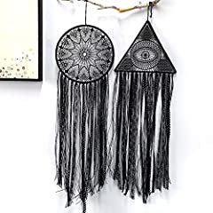 DUGYIRS 2 Pieces Black Dream Catcher Handmade Crochet Evil Eye Design with Lace Triangle Round Dream Catchers Gothic Wall Art Decorations Hanging for Home Ornament Christmas Festival Gift #5