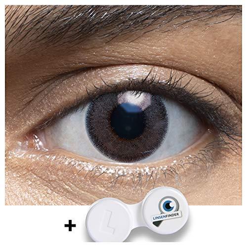 Sehr stark deckende und natürliche graue Kontaktlinsen farbig MUSCAT DARKGREY + Behälter von LENSART - 1 Paar (2 Stück) - DIA 14.00 - ohne Stärke 0.00 Dioptrien