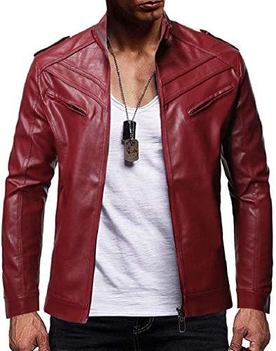 Frieed Mens Full Zip Coat Casual Moto Biker Stand Collar Jacket Outwear