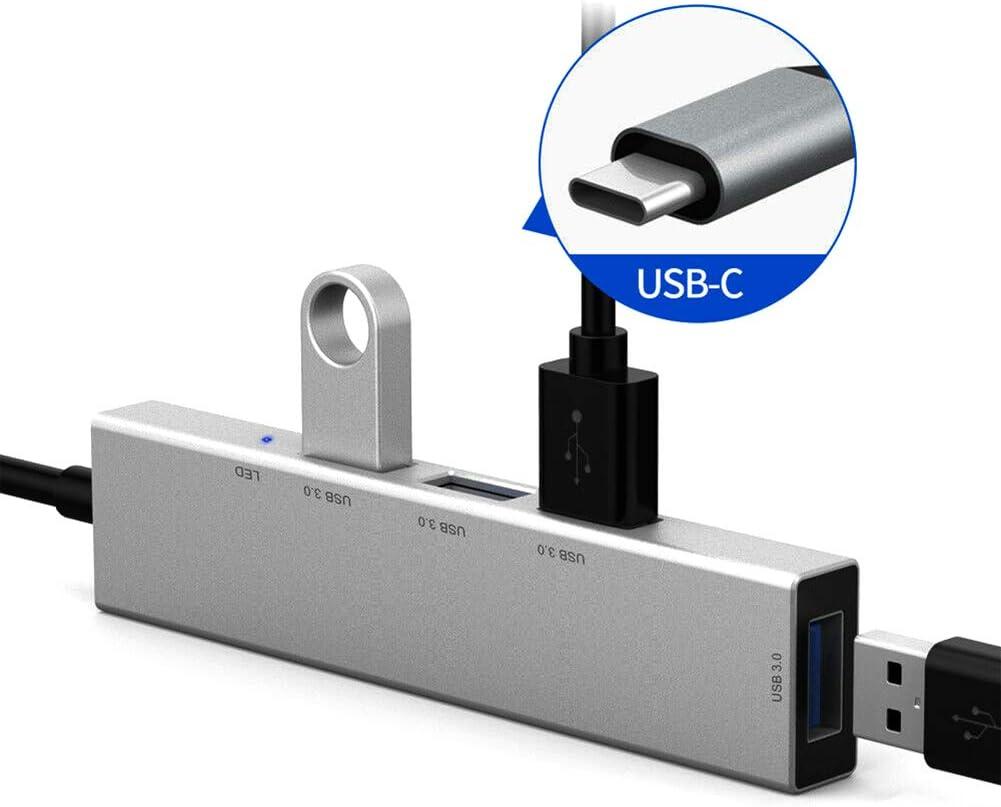 TAIKOIN 4 USB 3.0 Ports Type-C Hub, Portable 3.1 Type-C to USB 3.0 Multiple 4 Ports Converter Cable Hub Adapter