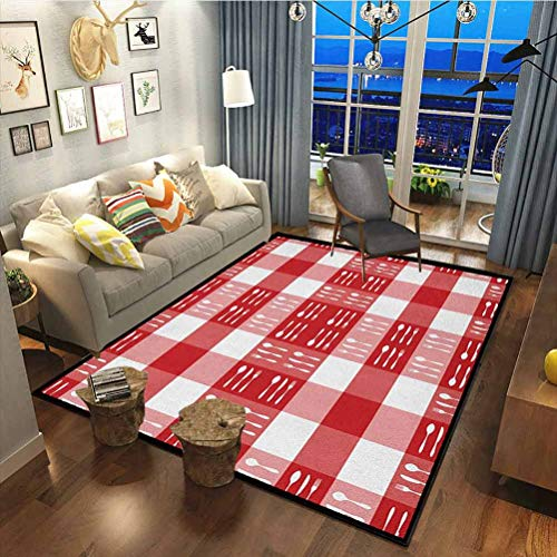 Checkered Premium Rug Best Long Carpet for Bedroom Floor Cutlery Silhouettes on Squares Dining Picnic Themed Tile Spoons Forks Knives Red Pink White30x63 Inch