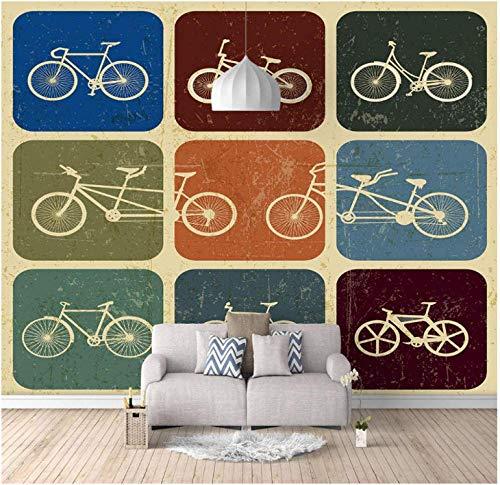 Papel Pintado Pared Dormitorio Infantil Bicicleta retro decoraciones Fondo del Sofá de La Sala de Estar Los Niños Dormit (W)250x(H)175cm