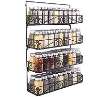SWOMMOLY 壁取り付けスパイスラック 4パック 大容量スパイスラック 積み重ね可能 折りたたみ式オーガナイザー ブラック Lサイズ