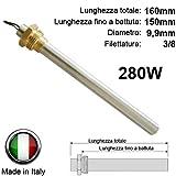 Easyricambi - Bougie/résistance d'allumage pour poêle à pellets 280W 160mm 150mm; diamètre 9,9mm; filetage 3/8 Pour Ungaro Vibrok LMS
