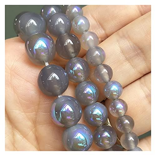 YSJSPOL Piedras y Cristales Piedra Natural Agates Grises Labradorite Ronda Redonda Perlas espaciadoras Sueltas para joyería de Bricolaje Pendientes de Pulsera 15''Inches 6 8 10mm