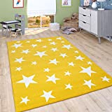 Alfombra Infantil De Pelo Corto para Habitación Infantil con Motivo De Estrellas, Amarilla, tamaño:140x200 cm