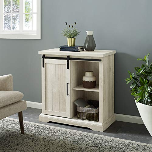 Walker Edison Furniture Modern Farmhouse Buffet Entryway Bar Cabinet Storage, 32 Inch, White