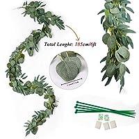 Lei Zhang ハンギング人工植物ユーカリガーランドウィロー葉プラスチックフェイク植物2Mバインズラタン縦の家の庭の装飾 (Color : 緑, Size : Garland)