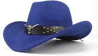 SXQ Men Women Western Cowboy Hat with Cow Head Leather Band Sombrero Hat Wide Brim Church Jazz Hat Size 56-58CM (Color : Blue, Size : 56-58)