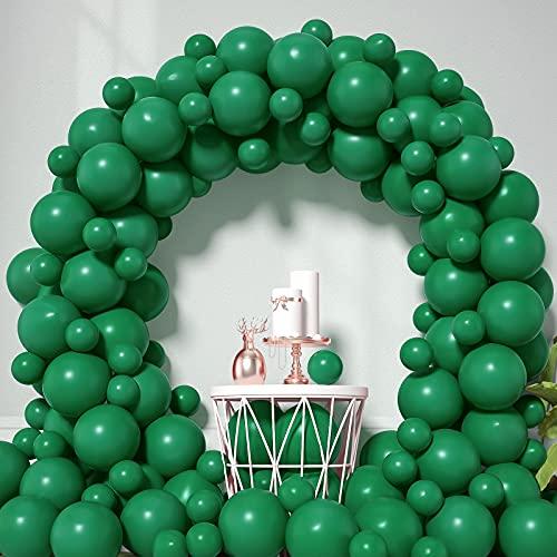 Honinda Green Latex Balloons 12inch + 5inch 70 Pack Dark Green Party Balloons Helium Balloons for Jungle Safari Birthday Party Baby Shower Dinosaur Decorations Wedding Green Party Supplies