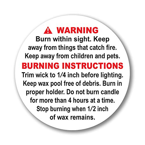 Superb Home 100 pcs 1.25 inch ASTM Compliant Candle Warning Labels Stickers Tearproof Waterproof Scratchproof Perfect Size Fire Safety Big Text Soy Wax Making Supplies Package Jars Tins Containers