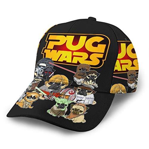 Gorra de béisbol Pug Wars Unisex 3D Hip Hop Snapback Gorra de béisbol con Visera Plana, Color Negro