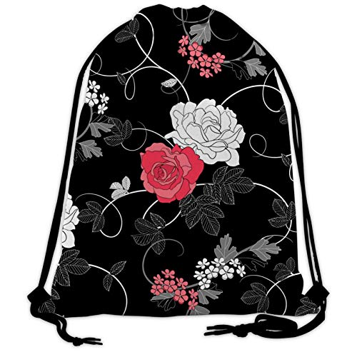 699 Black Flowers Drawstring Bags Sports String Backpacks Training Gym Sack Bag for Teens Womens Mens
