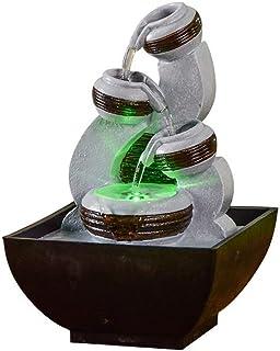 Zen Light - Fontaine d'Intérieur Kara - Ambiance Zen et Relaxante - Ecoulement d'eau sur 3 Niveaux - Pompe Silencieuse - E...