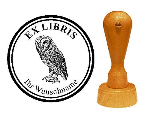 EX LIBRIS EXLIBRIS Stempel « EULE 01 » Durchmesser ca. Ø 40 mm - mit persönlichem Wunschnamen und Motiv