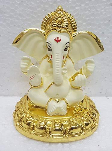 ADIYOGI Icono de cerámica Lord Ganesh, (8x7x7cm), Oro