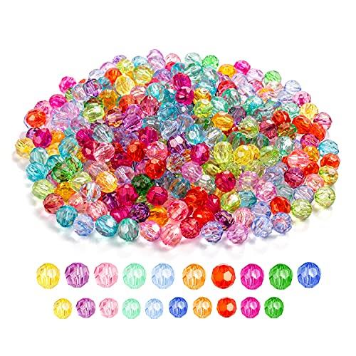 1250 perlas acrílicas mixtas para enhebrar, cuentas de 6 mm + 8 mm, 200 gramos de perlas de cristal facetadas, perlas de cristal multicolor, para fabricación de joyas, collares, pulseras