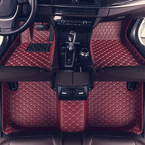 8X-SPEED Custom Car Floor Mats for BMW 3 Series Coupe E92 320i 325i 330i 335i 2008-2011 2009 2010 Full Coverage All Weather Protection Waterproof Non-Slip Leather Liner Set Red Wine