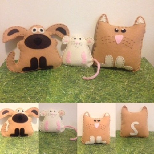 Amazon Com Cat Dog Mouse Felt Pretend Play Stuffed Animals Handmade