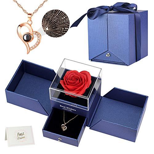 Oryidr preservada Eterna Mano Rosa 100 Idiomas Regalos Románticos Kit Completo para la decoración, Boda, Fiesta, cumpleaños, Aniversario,Navidad