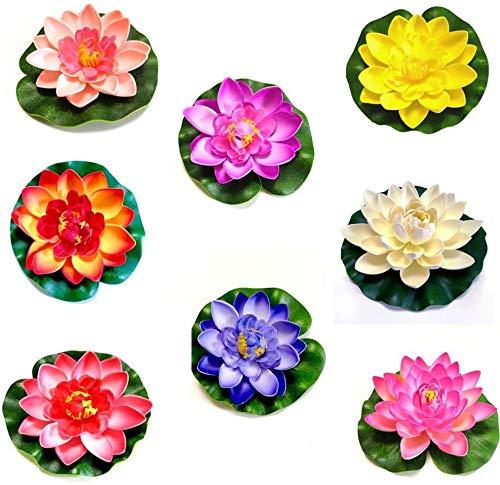 OMZGXGOD Künstliche Schwimmende Lotus Blume,8pcs Schaum Seerose Blume Dekor,Schaumstoff Seerose Lotusblüte,Schwimmende Teich-Dekoration,für Aquarium Terrasse Garten Pool Garten Teich