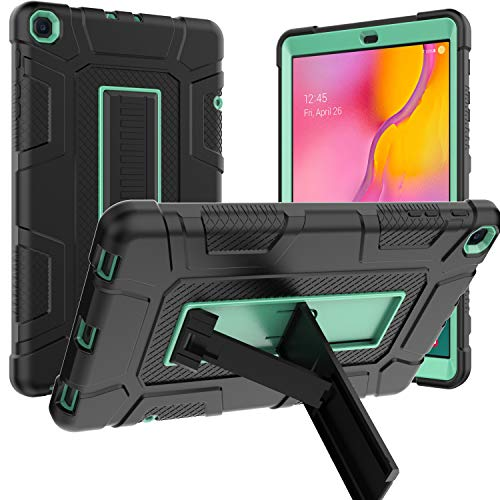 Samsung Galaxy Tab A 10.1 2019 Case, Sanhezhong Hybrid Shockproof Rugged Drop Protection Cover with Kickstand for Samsung Galaxy Tab A 10.1 Inch SM-T510 / T515(Black + Green)