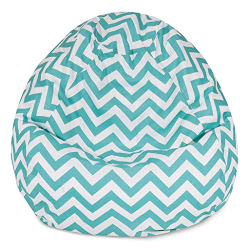 Majestic Home Goods Classic Bean Bag Chair - Chevron Giant Classic Bean Bags for Small Adults and Kids (28 x 28 x 22 Inches) (Teal Blue)